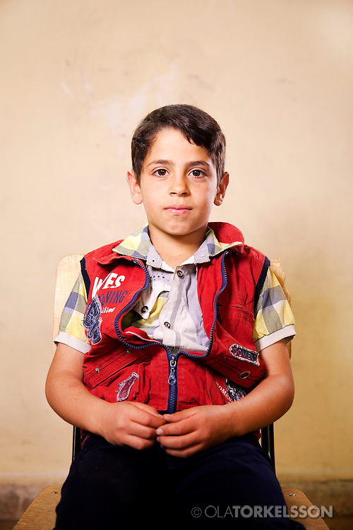 Ahmed (not his real name) is 11 years old and comes from the Damascus area.<br /> Photos Ola Torkelsson <br /> Copyright Ola Torkelsson &copy; 2013