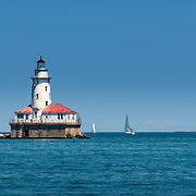 Chicago Harbor Lighthouse on Lake Michigan at the mouth of the Chicago River. Photo by Alabastro Photography.