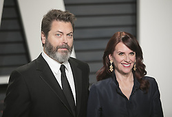 February 26, 2017 - Beverly Hills, California, U.S - Nick Offerman & Megan Mullally on the red carpet at the 2017 Vanity Fair Oscar Party held at the Wallis Annenberg Center in Beverly Hills, California, Sunday February 26, 2017. (Credit Image: © Prensa Internacional via ZUMA Wire)