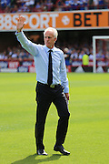 Mick McCarthy waving during the EFL Sky Bet Championship match between Brentford and Ipswich Town at Griffin Park, London, England on 13 August 2016. Photo by Matthew Redman.