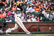 San Francisco Giants third baseman Conor Gillaspie (21) swings at a pitch against the San Diego Padres at AT&T Park in San Francisco, Calif., on September 14, 2016. (Stan Olszewski/Special to S.F. Examiner)