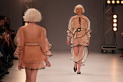 February 3, 2018 - Kyiv, Ukraine - Models demonstrate beige transparent dresses during the NADYA DZYAK AW 18/19 catwalk show at the Ukrainian Fashion Week, Kyiv, capital of Ukraine, February 3, 2018. Ukrinform. (Credit Image: © Pavlo Bagmut/Ukrinform via ZUMA Wire)