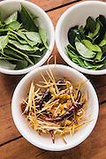 Ingredients; basil leaves, kaffir lime leaves and smoky lemograss straws with dark-red chilies for battered calamari and prawns (khroeung samuh bampong masao), Chanrey Tree restaurant, Siem Reap