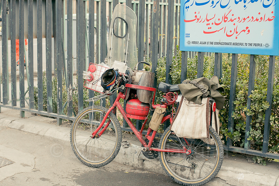 Tea seller's motor bike, Tehran, Iran