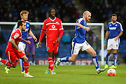 Chesterfield FC defender Chris Herd picks up the ball from the back during the The FA Cup match between Chesterfield and Walsall at the Proact stadium, Chesterfield, England on 5 December 2015. Photo by Aaron Lupton.