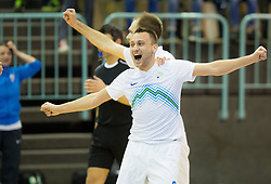 Rok Mordej of Slovenia celebrates after winning during futsal match between National teams of Slovenia and Spain in Play off of FIFA Futsal World Cup Colombia 2016 Qualifications, on March 22, 2016 in Arena Tabor, Maribor, Slovenia. Photo by Vid Ponikvar / Sportida