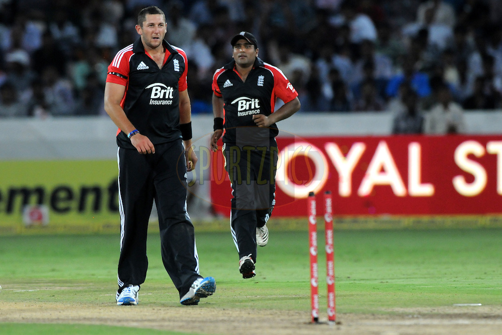 Tim Bresnan of England celebrates a wicket during the first One Day International ( ODI ) match between India and England held at the Rajiv Gandhi International Stadium, Hyderabad on the 14th October 2011..Photo by Pal Pillai/BCCI/SPORTZPICS