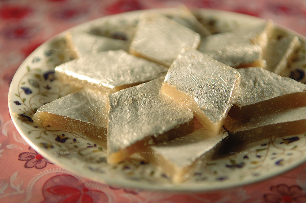 Kaju Barfi - North Indian sweet made of cashew nuts ( Recipe available upon request )