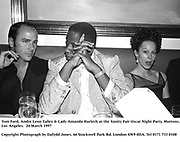 Tom Ford, Andre Leon Talley & Lady amanda Harlech at the Vanity Fair Oscar Night Party. Mortons. Los Angeles.  24 March 1997<br /> Copyright Photograph by Dafydd Jones<br /> 66 Stockwell Park Rd. London SW9 0DA<br /> Tel 0171 733 0108