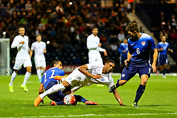 Jordon Ibe of England U21 is fouled by Alonso Hernandez of USA U23   - Mandatory byline: Matt McNulty/JMP - 07966386802 - 03/09/2015 - FOOTBALL - Deepdale Stadium -Preston,England - England U21 v USA U23 - U21 International