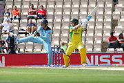 Steve Smith cuts for 4 on his way to 50 during the ICC Cricket World Cup 2019 warm up match between England and Australia at the Ageas Bowl, Southampton, United Kingdom on 25 May 2019.