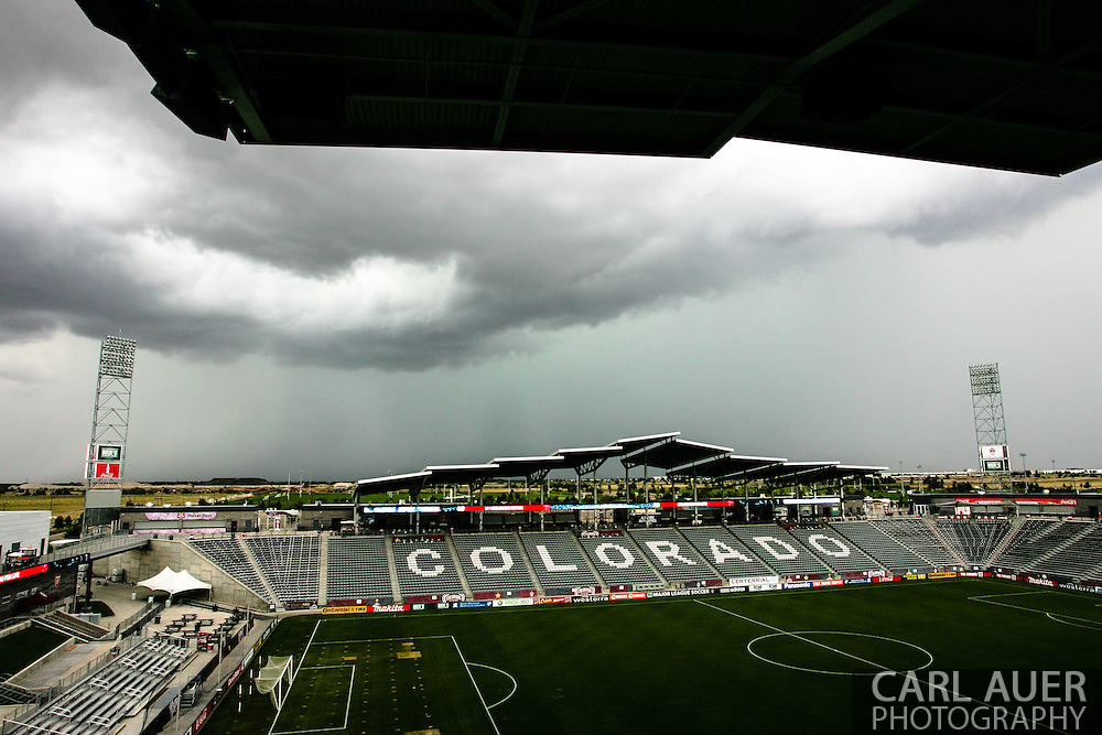 September 14th, 2013 -  Dark clouds move in as near by flood warnings go into effect as more rains hit the area prior to the MLS Soccer game between FC Dallas and the Colorado Rapids at Dick's Sporting Goods Park in Commerce City, CO