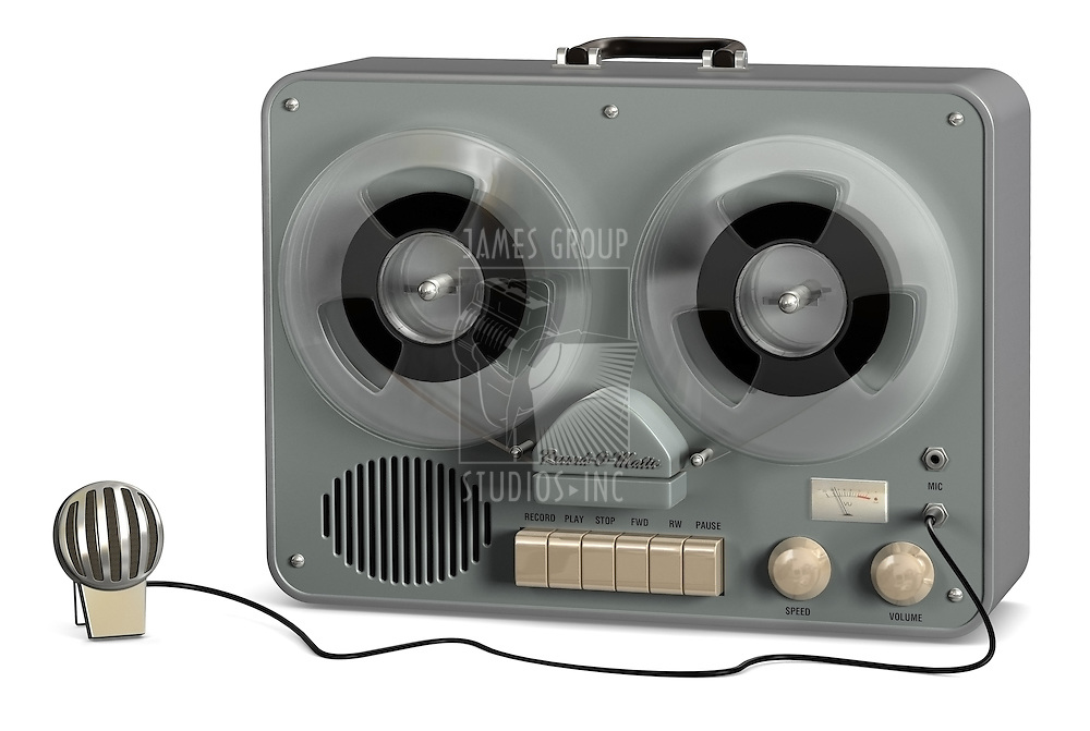 Retro reel to reel tape recorder on a white background