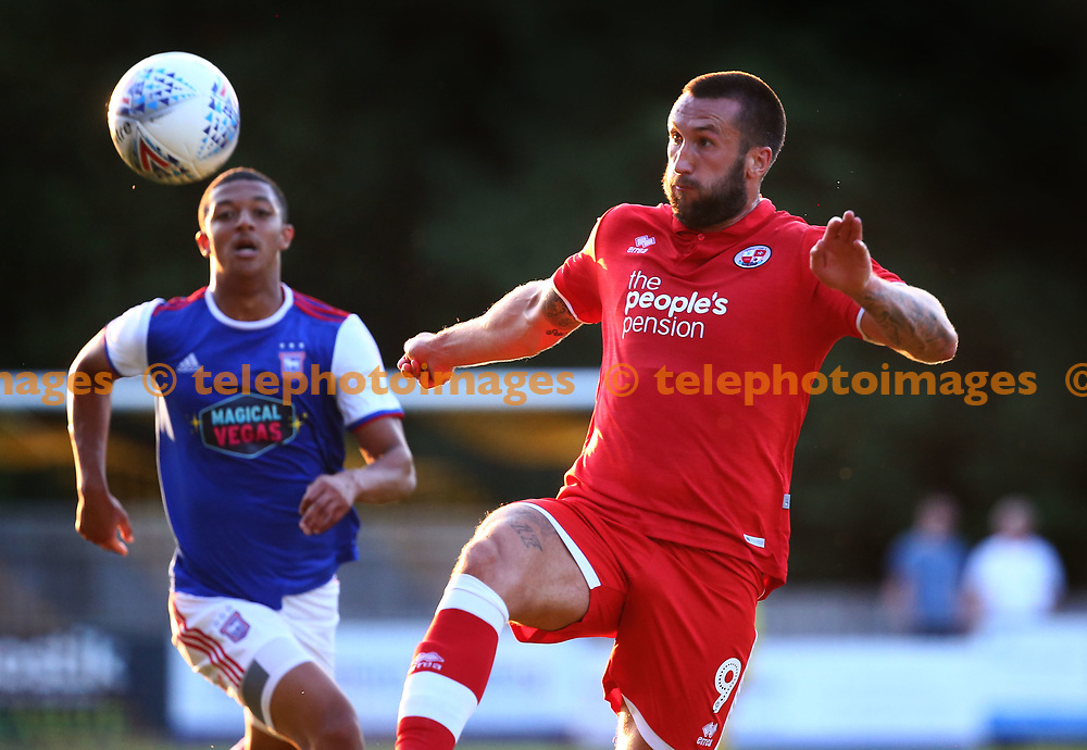 Crawley's Ollie Palmer during the pre season friendly between Crawley Town and Ipswich Town at East Court, East Grinstead, UK. 17 July 2018.