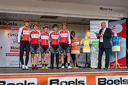 Riders of De Jonge Renner on the podium for the sign-on at the Holland Ladies Tour, Zeddam, Gelderland, The Netherlands, 1 September 2015.<br /> Photo: Pim Nijland / PelotonPhotos.com