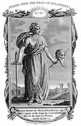 Judith, Jewish heroine, having gained confidence of Assyrian general Holofernes, cuts off his head and saves the town of Bethulia from capture. 'Bible' Judith 13:10. Copperplate engraving c1804