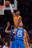 02 April 2013: Guard (24) Kobe Bryant of the Los Angeles Lakers dunks the ball against the Dallas Mavericks during the first half of the Lakers 101-81 victory over the Mavericks at the STAPLES Center in Los Angeles, CA.