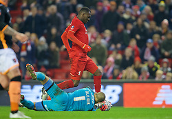 LIVERPOOL, ENGLAND - Wednesday, January 20, 2016: Liverpool's Christian Benteke is thwarted by Exeter City's goalkeeper Bobby Olejnik during the FA Cup 3rd Round Replay match at Anfield. (Pic by David Rawcliffe/Propaganda)