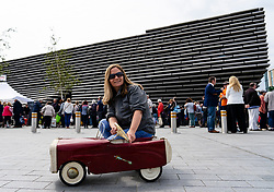 Dundee, Scotland, UK. 23 June 2019. The BBC Antiques Roadshow TV programme is aiming on location t the new V&A Museum in Dundee today. Long queues formed as members of the public arrived with their collectables to have them appraised and valued by the Antiques Roadshow experts. Select items and their owners were chosen to be filmed for the show. Pictured Nicola McDonald from Dundee with her vintage toy car valued at about £200.