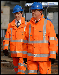 Image ©Licensed to i-Images Picture Agency. 30/09/2014. Birmingham, United Kingdom. Prime Minister David Cameron and Chancellor of the Exchequer George Osborne along with the Patrick McLoughlin, Secretary of State for Transport talk to apprentices on a visit to the redevelopment site of New Street station, Birmingham,  on day 3 of the Conservative Party Conference. Picture by Andrew Parsons / i-Images