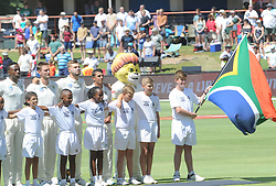 Pretoria 26-12-18. The 1st of three 5 day cricket Tests, South Africa vs Pakistan at SuperSport Park, Centurion. Day 1. The South African Proteas stand as a team for the national anthem.<br /> Picture: Karen Sandison/African News Agency(ANA)