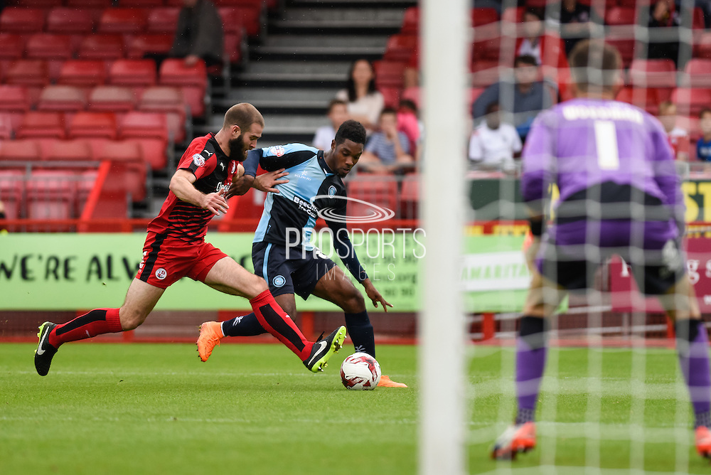 Wycombe's Jason Banton attacking during the Sky Bet League 2 match between Crawley Town and Wycombe Wanderers at the Checkatrade.com Stadium, Crawley, England on 29 August 2015. Photo by David Charbit.