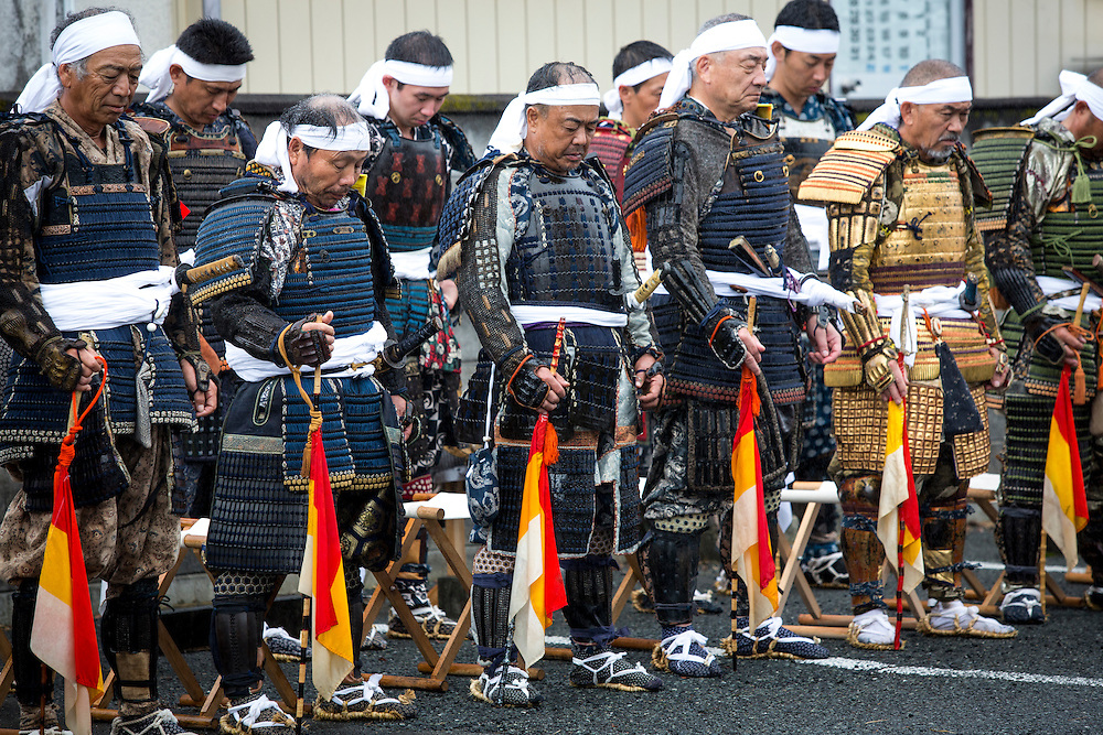 "MINAMISOMA, JAPAN - JULY 24 : A samurai men pays respect during a ceremony in the Soma Nomaoi festival at Minamisoma, Fukushima prefecture on Sunday, July 24, 2016, Japan. ""Soma-Nomaoi"" is a traditional festival that recreates a samurai battle scene from more than 1,000 years ago.  (Photo: Richard Atrero de Guzman/NURPhoto)"