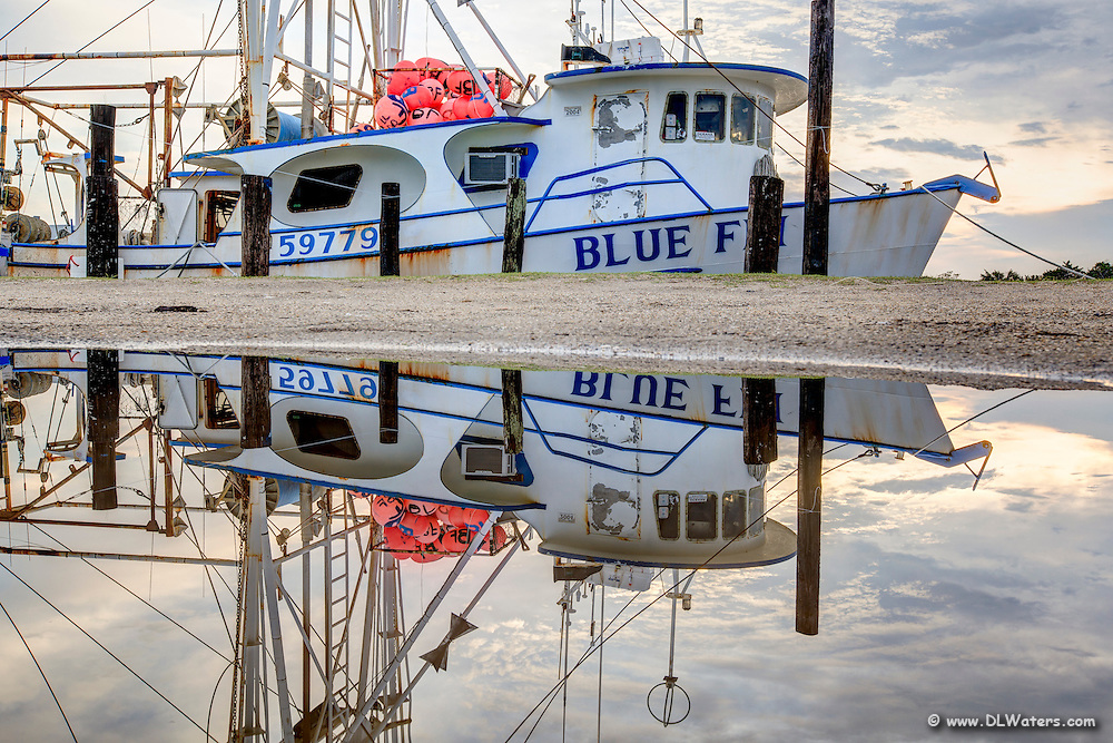 Blue Fin  fishing trawler photographed with its reflection in Wancheese harbor.