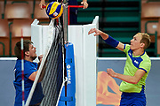 Katowice, Poland - 2017 September 03: (R) Athlete  Yaroslav Kovalenko from SO Russia spikes the ball while final match between SO Russia and SO Finland during European Unified Volleyball Tournament 2017 at Spodek Hall on September 03, 2017 in Katowice, Poland.<br /> <br /> Adam Nurkiewicz declares that he has no rights to the image of people at the photographs of his authorship.<br /> <br /> Picture also available in RAW (NEF) or TIFF format on special request.<br /> <br /> Any editorial, commercial or promotional use requires written permission from the author of image.<br /> <br /> Image can be used in the press when the method of use and the signature does not hurt people on the picture.<br /> <br /> Mandatory credit:<br /> Photo by &copy; Adam Nurkiewicz / Mediasport