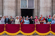 "The Royal Family gathers on the balcony for the flypast and cheers from the crowd - Trooping the Colour by the Irish Guards on the Queen's Birthday Parade. The Queen's Colour is ""Trooped"" in front of Her Majesty The Queen and all the Royal Colonels.  His Royal Highness The Duke of Cambridge takes the Colonel's Review for the first time on Horse Guards Parade riding his horse Wellesley. The Irish Guards are led out by their famous wolfhound mascot Domhnall and more than one thousand Household Division soldiers perform their ceremonial duty. The Soldiers will parade in the traditional ceremonial uniforms of the Household Cavalry, Royal Horse Artillery, and Foot Guards. They are accompanied by the Household Division Bands & Corps of Drums. London 17th June 2017."