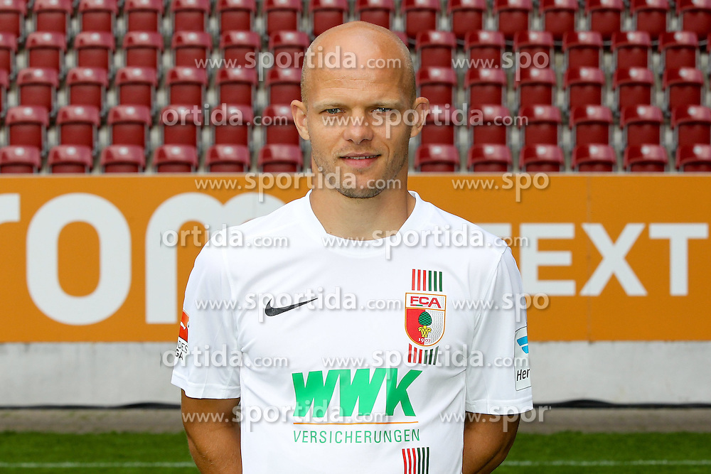 08.07.2015, WWK Arena, Augsburg, GER, 1. FBL, FC Augsburg, Fototermin, im Bild Tobias Werner #13 (FC Augsburg) // during the official Team and Portrait Photoshoot of German Bundesliga Club FC Augsburg at the WWK Arena in Augsburg, Germany on 2015/07/08. EXPA Pictures &copy; 2015, PhotoCredit: EXPA/ Eibner-Pressefoto/ Kolbert<br /> <br /> *****ATTENTION - OUT of GER*****