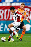 Onderwerp/Subject: Willem II - FC Volendam - Jupiler League<br /> Reklame:  <br /> Club/Team/Country: <br /> Seizoen/Season: 2013/2014<br /> FOTO/PHOTO: Ali MESSAOUD (L) of Willem II in duel with Levi SCHWIEBBE (R) of FC Volendam. (Photo by PICS UNITED)<br /> <br /> Trefwoorden/Keywords: <br /> #04 $94 &plusmn;1372506528100<br /> Photo- &amp; Copyrights &copy; PICS UNITED <br /> P.O. Box 7164 - 5605 BE  EINDHOVEN (THE NETHERLANDS) <br /> Phone +31 (0)40 296 28 00 <br /> Fax +31 (0) 40 248 47 43 <br /> http://www.pics-united.com <br /> e-mail : sales@pics-united.com (If you would like to raise any issues regarding any aspects of products / service of PICS UNITED) or <br /> e-mail : sales@pics-united.com   <br /> <br /> ATTENTIE: <br /> Publicatie ook bij aanbieding door derden is slechts toegestaan na verkregen toestemming van Pics United. <br /> VOLLEDIGE NAAMSVERMELDING IS VERPLICHT! (&copy; PICS UNITED/Naam Fotograaf, zie veld 4 van de bestandsinfo 'credits') <br /> ATTENTION:  <br /> &copy; Pics United. Reproduction/publication of this photo by any parties is only permitted after authorisation is sought and obtained from  PICS UNITED- THE NETHERLANDS