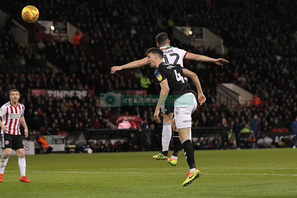 February 13, 2019 - Sheffield, South Yorkshire, United Kingdom - SHEFFIELD, UK 13TH FEBRUARY  Daniel Ayala of Middlesbrough beats John Egan of Sheffield United to head at goal  during the Sky Bet Championship match between Sheffield United and Middlesbrough at Bramall Lane, Sheffield on Wednesday 13th February 2019. (Credit: Mark Fletcher | MI News) (Credit Image: © Mi News/NurPhoto via ZUMA Press)