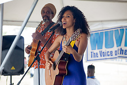 "Tanama Colibri accompanied by Haile Israel perform.  The University of the Virgin Islands hosts ""A Centennial Celebration of Delicacies for the Afternoon on the Green 2017 in celebration of the Virgin Islands Centennial and UVI's 55th anniversary.  Herman E. Moore Golf Course.  University of the Virgin Islands.  19 March 2017.  © Aisha-Zakiya Boyd"