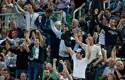 Fans of Olimpija during final match of Basketball NLB League at Final four tournament between KK Union Olimpija (SLO) and Partizan Belgrade (SRB), on April 21, 2011 in Arena Stozice, Ljubljana, Slovenia. Partizan defeated Union Olimpija 77-74 and became NLB league Champion 2011.  (Photo By Vid Ponikvar / Sportida.com)
