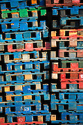 Fishermen's pallets at San Vicente de la Barquera, maritime town in Cantabria, Northern Spain