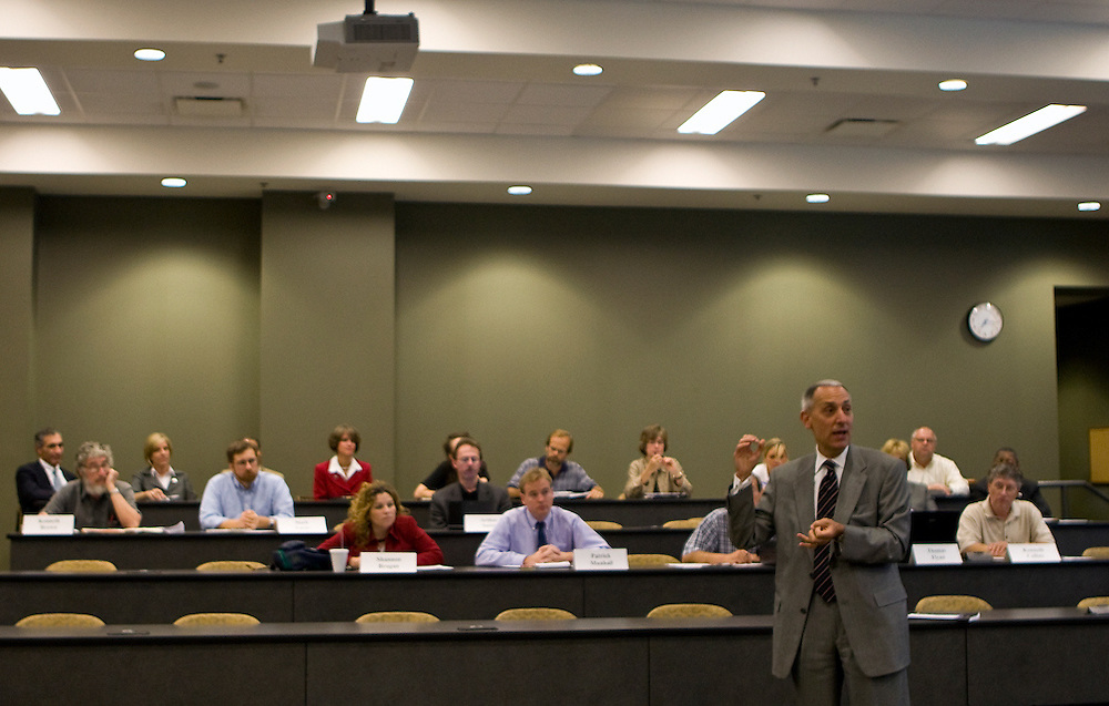 During his visit to the Faculty Senate in Walter Hall, Chancellor Eric D. Fingerhut, the seventh Chancellor of the Ohio Board of Regents, talks to Ohio University faculty, on Monday night, September 8, 2008.