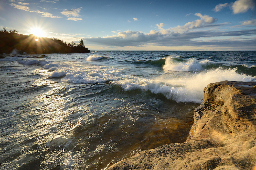 Incoming waves hit Lake Superior's rugged shore in Michigan's Upper Peninsula