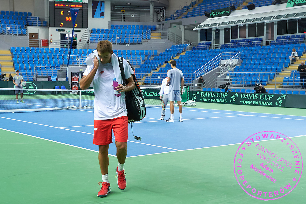 Lukasz Kubot of Poland after his warm up during first day the Davies Cup / Group I Europe / Africa 1st round tennis match between Poland and Lithuania at Orlen Arena on March 6, 2015 in Plock, Poland<br /> Poland, Plock, March 6, 2015<br /> <br /> Picture also available in RAW (NEF) or TIFF format on special request.<br /> <br /> For editorial use only. Any commercial or promotional use requires permission.<br /> <br /> Mandatory credit:<br /> Photo by &copy; Adam Nurkiewicz / Mediasport