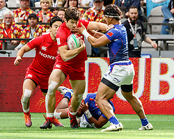 March 9, 2019 - Vancouver, BC, U.S. - VANCOUVER, BC - MARCH 10: Matt Mullins #1 of Canadastuffed in the face by Samoa tackler during Game #6- Samoa 7s vs Canada 7s in Pool B match-up at the Canada Sevens held March 9-10, 2019 at BC Place Stadium in Vancouver, BC, Canada.(Photo by Allan Hamilton/Icon Sportswire) (Credit Image: © Allan Hamilton/Icon SMI via ZUMA Press)