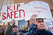 "05 DECEMBER 2009 -- PHOENIX, AZ: Protestors picket the Maricopa County Board of Supervisors in Phoenix, AZ, Monday. About 200 people from several Phoenix area civil rights groups held a mock ""funeral"" for civil rights in Phoenix Monday to protest actions taken by the Maricopa County Board of Supervisors recent decisions that limit protestors' ability to speak out against Sheriff Joe Arpiao during Board of Supervisors meetings. The protestors have been attending meetings to protest the Sheriff's series of anti-immigrant sweeps in Latino neighborhoods of Phoenix. Photo by Jack Kurtz / ZUMA Press"