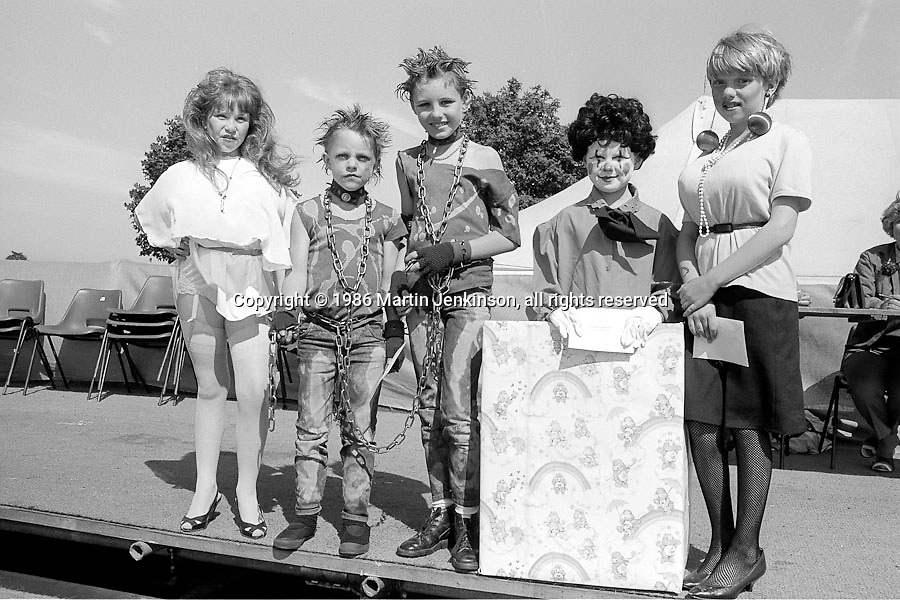 Fancey Dress 8 to 14 years l to r: 3rd Hayley Griffiths, Allerton Bywater; 2nd Mick Mulligan & Daniel Luckmore, Houghton Main; 1st Michelle Westerman, Rossington; 4th Louise Clarey, Brodsworth. 99th Yorkshire Miners Gala. 1986 Doncaster.