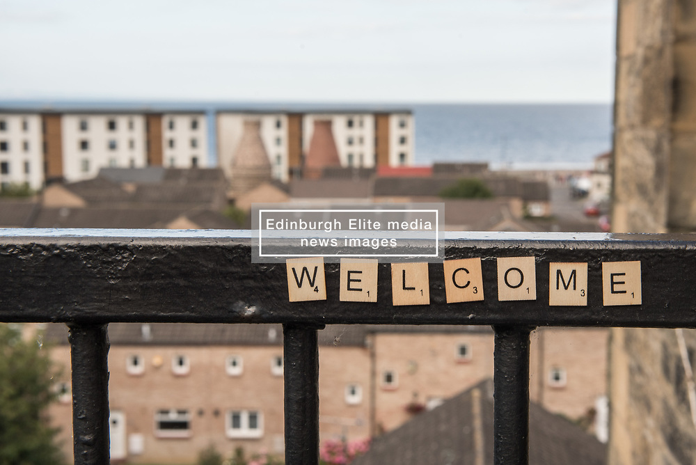 Portobello, Edinburgh's seaside suburb, is awash with Art. Almost everywhere you look there is something to see as the Art Walk Porty community art festival takes place, now extended to run over ten days covering the first two weekends of September. Pictured: Welcome to Portobello.<br /> <br /> <br /> © Jon Davey/ EEm