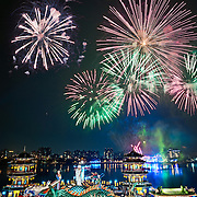Fireworks show at Wannian Folklore Festival, Zuoying, Lotus Lake, Kaohsiung City, Taiwan