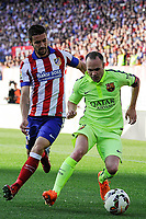 Atletico de Madrid´s Gabi and FC Barcelona´s Andres Iniesta during 2014-15 La Liga match between Atletico de Madrid and FC Barcelona at Vicente Calderon stadium in Madrid, Spain. May 17, 2015. (ALTERPHOTOS/Luis Fernandez)