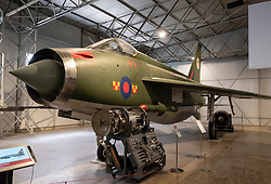 English Electric Lightning on display at National Museum of Flight at East Fortune Airfield in East Lothian, Scotland, United Kingdom