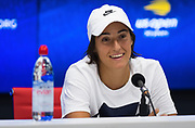 Caroline Garcia of France talks to the media after the first round of the 2018 US Open Grand Slam tennis tournament, at Billie Jean King National Tennis Center in Flushing Meadow, New York, USA, August 28th 2018, Photo Rob Prange / SpainProSportsImages / DPPI / ProSportsImages / DPPI