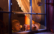 BEDTIME TV | A boy, standing on his bed and well on his way to the most amazing dreams, is mesmerized by a fairytale scene of Myotis bats hunting huge white Satin moths (Leucoma salicis) outside of his cabin window.