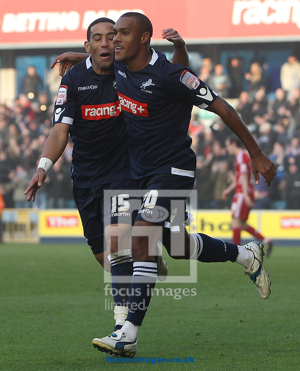 Picture by John Rainford/Focus Images Ltd. 07506 538356.20/11/11.Jay Simpson and Liam Feeney of Millwall celebrate the equaliser Bristol City during the Npower Championship match at New Den stadium, London.