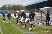 Dundee manager Paul Hartley watches his side warm up - Cowdenbeath v Dundee, SPFL Championship at Central Park<br />